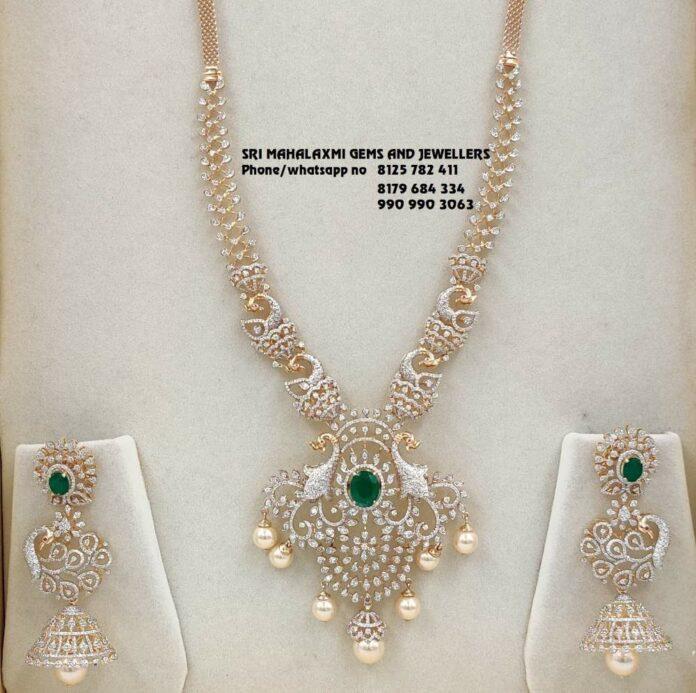 diamond peacock haram and jhumkas