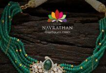 emerald beads choker with polki pendant (6)