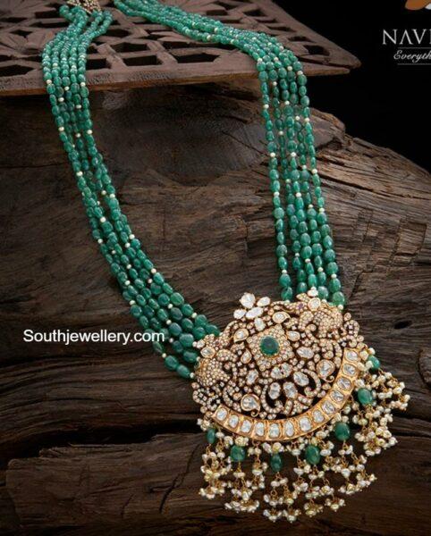emerald beads haram with diamond pendant