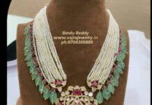 emerald beads haram with polki pendant (3)