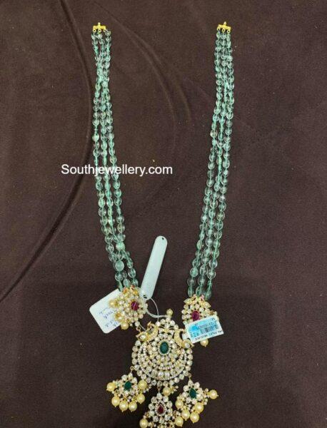 emerald beads haram with polki pendant (4)