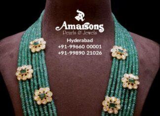 emerald beads mala with uncut diamond motifs