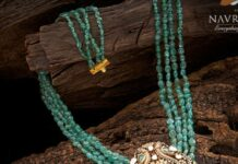 emerald beads necklace with diamond pendant (3)