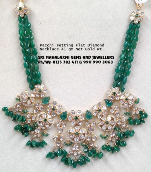emerald beads necklace with floral polki pendant