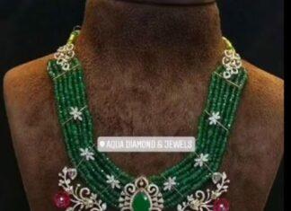 emerald haram with diamond pendant aqua diamond and jewels