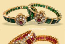 emerald ruby polki bangles