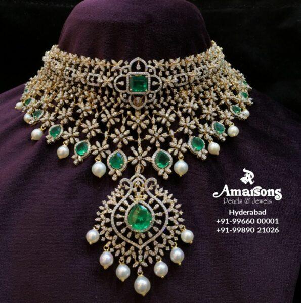floral diamond and emerald choker