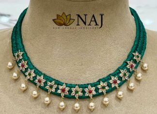 green thread necklace with uncut diamond floral motifs
