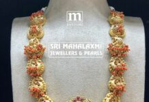 kundan peacock necklacepeacock haram with coral beads