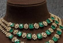 layered diamond and emerald necklace