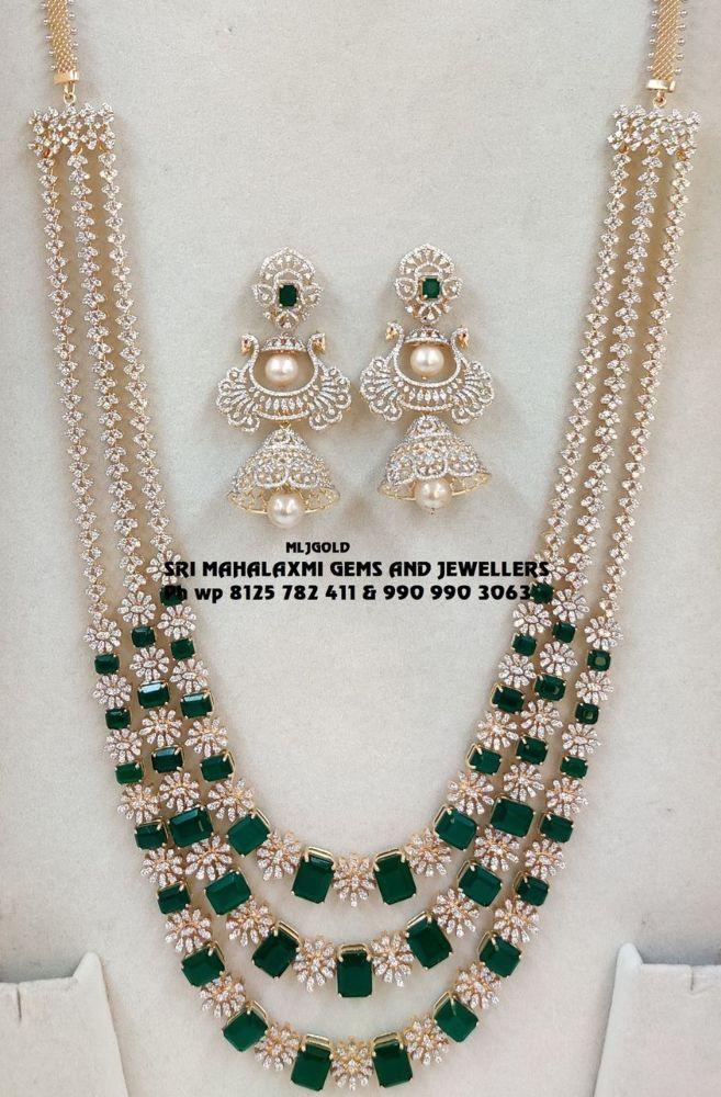 layered diamond emerald haram and jhumkas