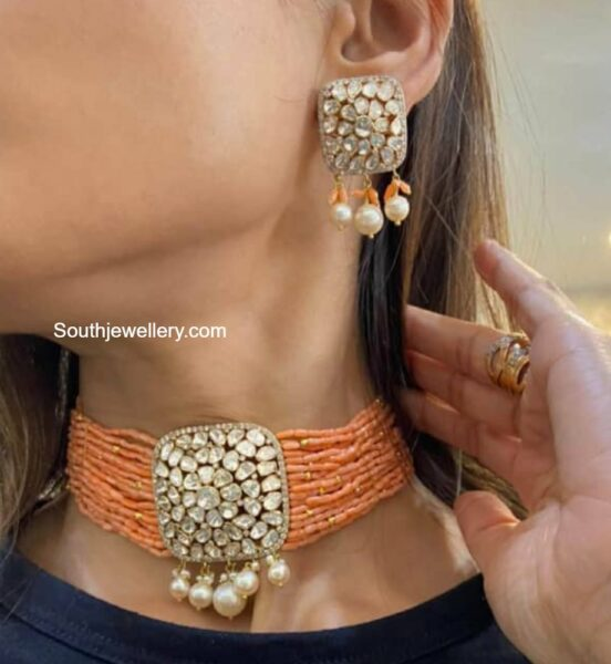 multi strand coral beads choker and earrings