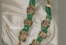 multi strand emerald beads haram with polki pendant
