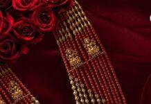 multi strand layered beads haram with lakshmi pendant