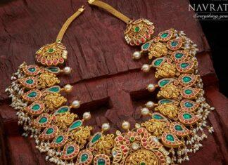 peacock kundan necklace navrathan