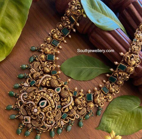peacock nakshi haram with emeralds