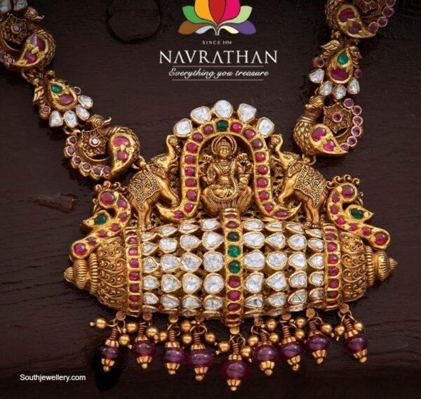 peacock nakshi haram with lakshmi pendant (1)