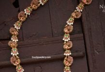 peacock nakshi haram with lakshmi pendant