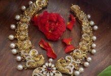 peacock nakshi necklace with lakshmi pendant (1)