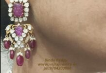 polki ruby choker and earrings set