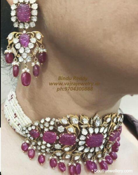 polki ruby choker and earrings set