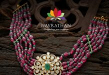 ruby and emerald beads necklace with polki pendant