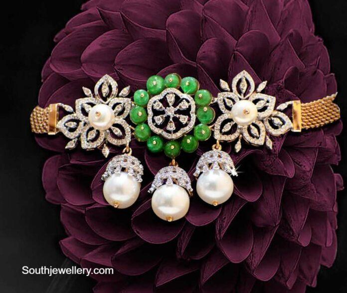 simple diamond emerald choker plus bajuband