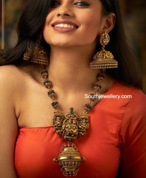 temple jewellery set by navrathan jewellers