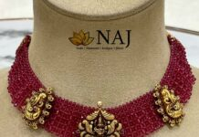woven ruby beads necklace with lakshmi pendant