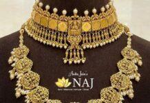 antique gold choker and lakshmi haram