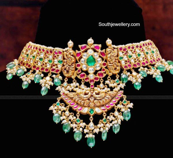 antique gold kundan choker (1)