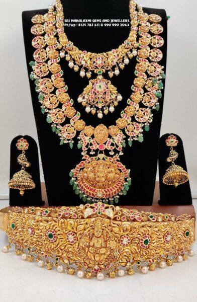antique gold nakshi bridal jewellery set
