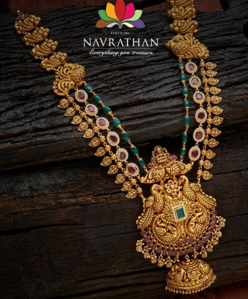 antique gold step haram with pendant