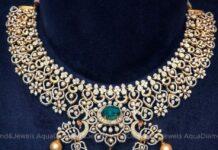 bridal diamond and emerald necklace set