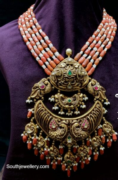 coral beads necklace with nakshi gold pendant