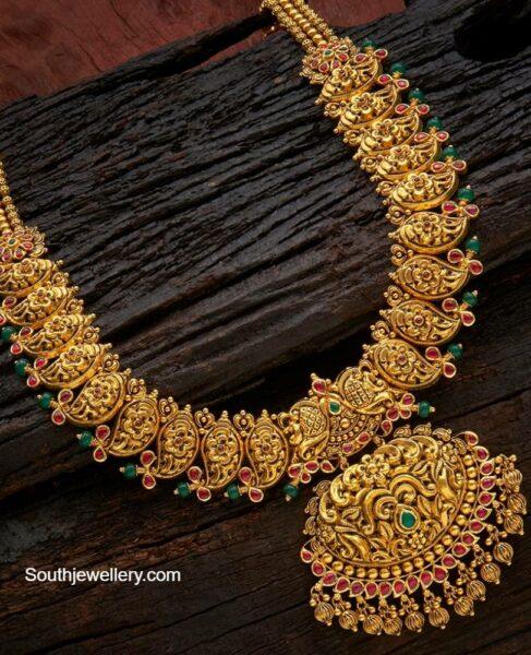 deep nakshi work mango necklace