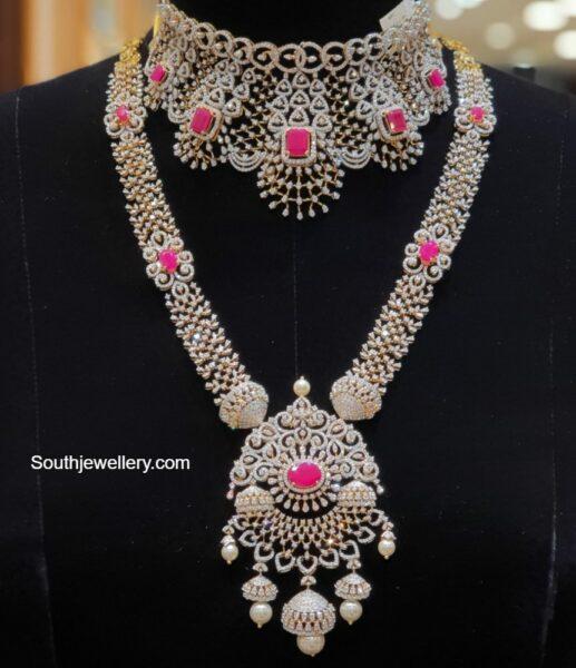 diamond and ruby jewellery set