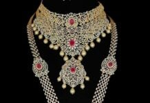 diamond and ruby necklace and haram set