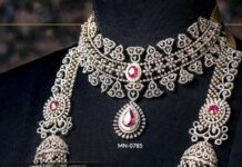 diamond and ruby necklace and long haram