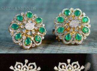 diamond emerald studs