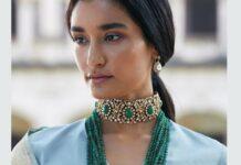 emerald beads mala and polki choker