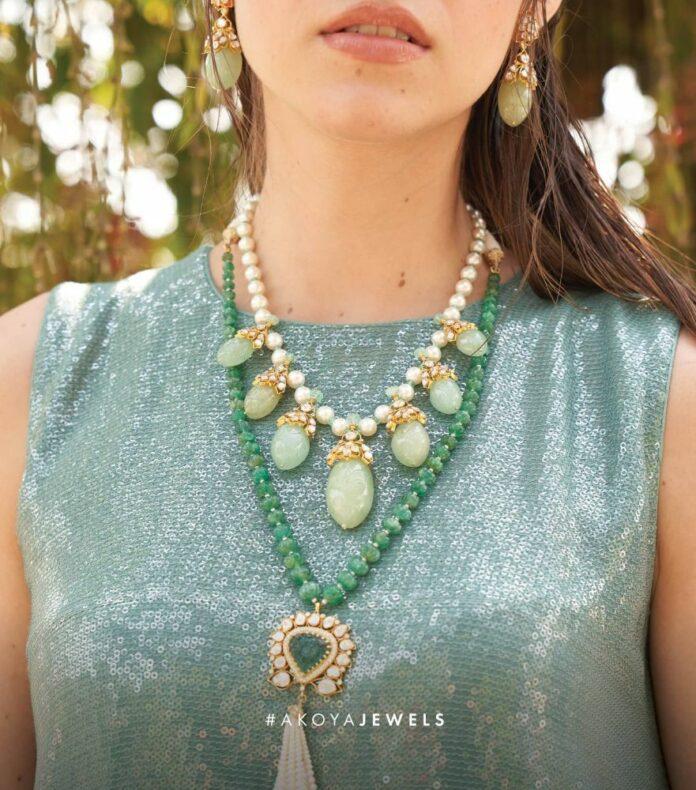 emerald beads necklace akoya