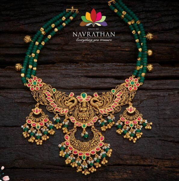 emerald beads necklace with lakshmi pendant