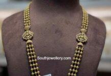 gold balls haram with lakshmi diamond pendant
