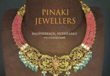 kundan choker ruby necklace with nakshi peacock pendant