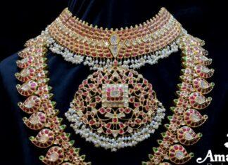 kundan necklace and mango haram