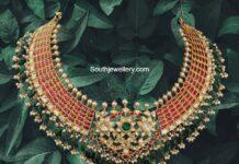 kundan necklace with uncut diamond pendant