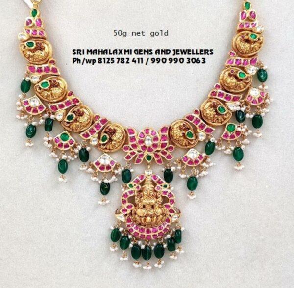 lakshmi peacock kundan necklace