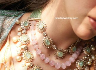 layered polki and emerald necklace
