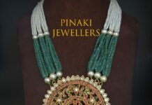 multi strand emerald and pearl necklace with kundan pendant